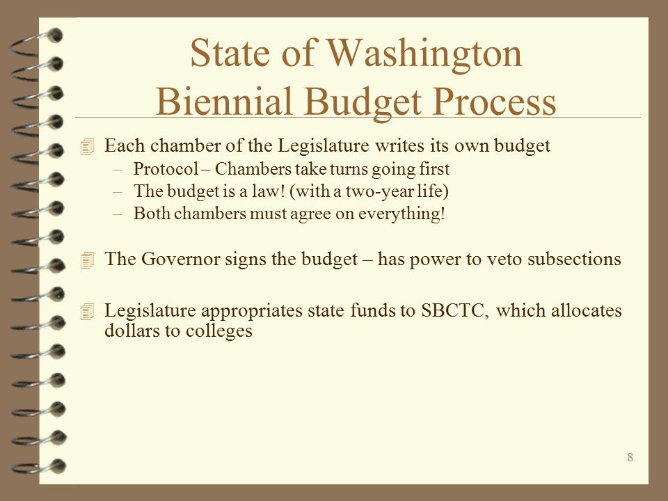 7 State of Washington Biennial Budget Process 4 SBCTC submits operating and capital budget requests to Governor –Fall, even years 4 Governor makes biennial budget proposal to Legislature –December, even years 4 Supplemental budgets adjust the biennial budget (odd years)