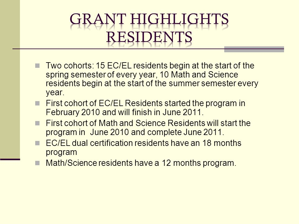 Two cohorts: 15 EC/EL residents begin at the start of the spring semester of every year, 10 Math and Science residents begin at the start of the summe