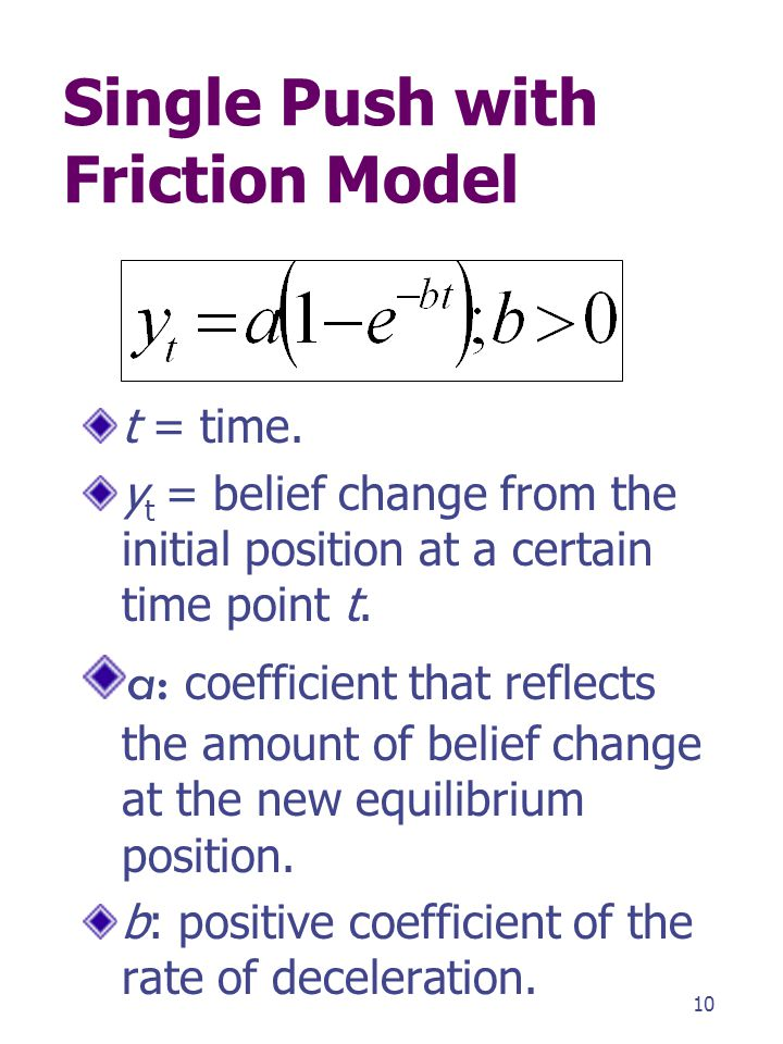 Single Push with Friction Model t = time. y t = belief change from the initial position at a certain time point t. a: coefficient that reflects the am
