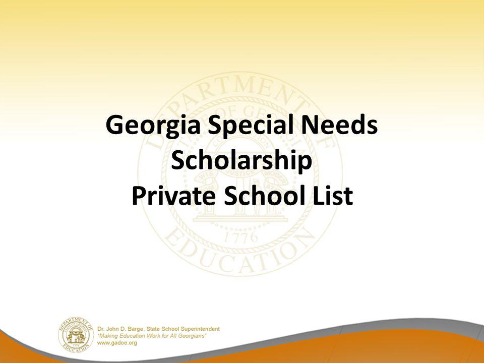 Georgia Special Needs Scholarship Private School List