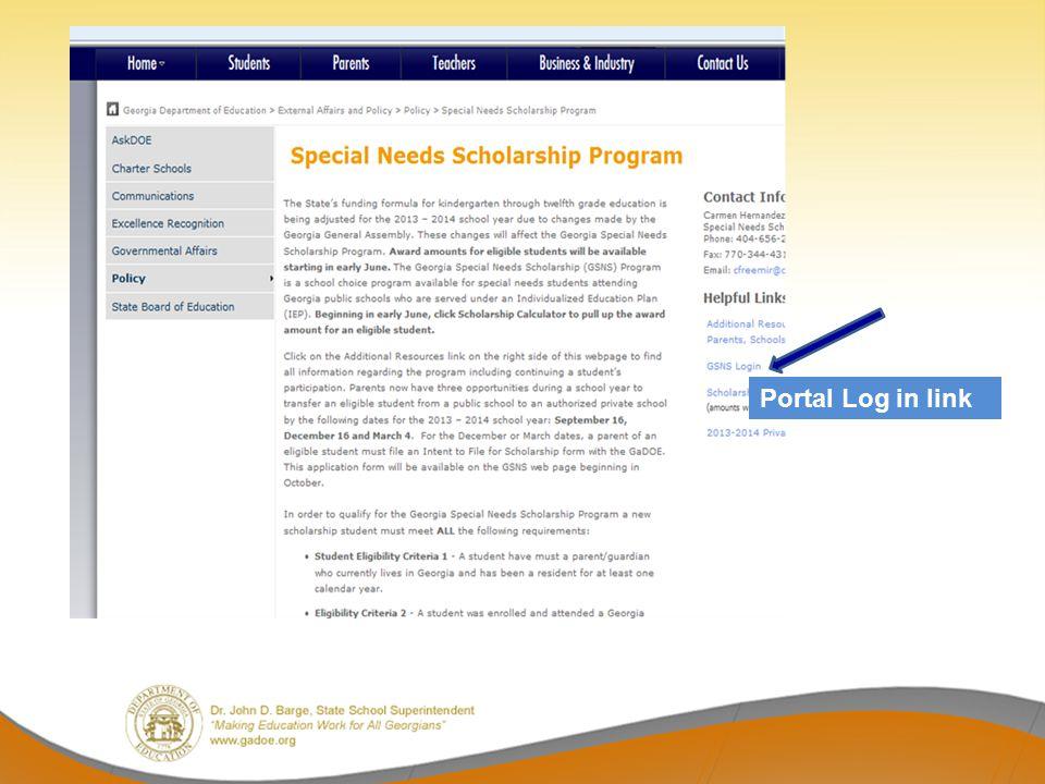 Portal Log in link