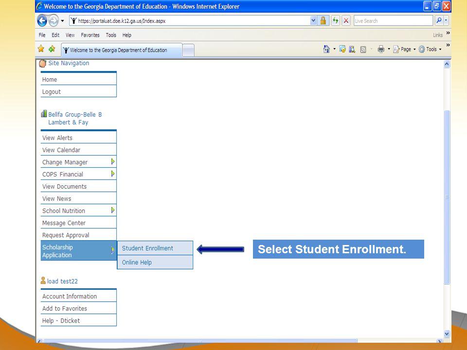 Select Student Enrollment.