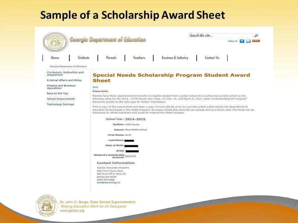 Sample of a Scholarship Award Sheet