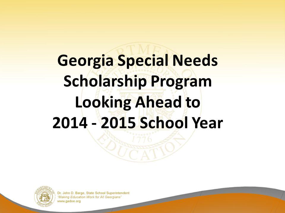 Georgia Special Needs Scholarship Program Looking Ahead to 2014 - 2015 School Year