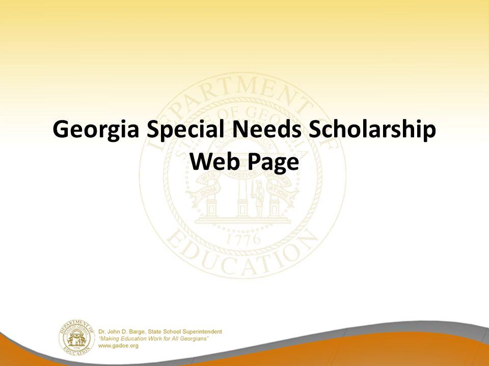 Georgia Special Needs Scholarship Web Page