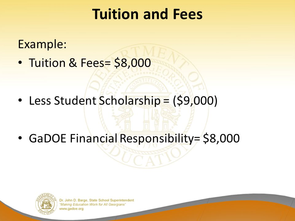 Tuition and Fees Example: Tuition & Fees= $8,000 Less Student Scholarship = ($9,000) GaDOE Financial Responsibility= $8,000