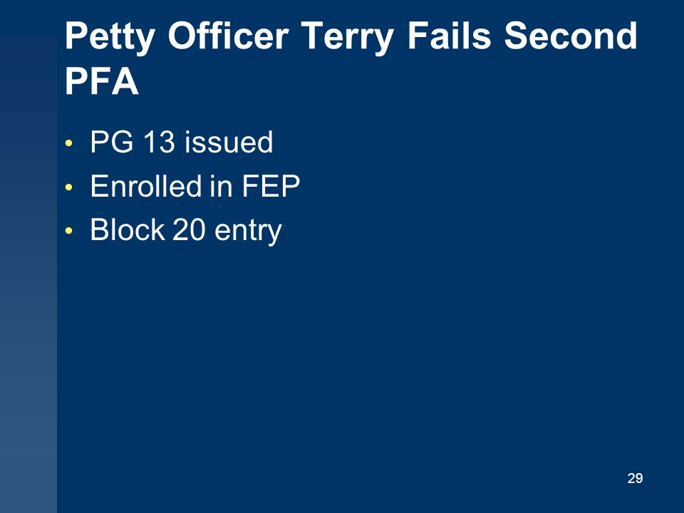 29 Petty Officer Terry Fails Second PFA PG 13 issued Enrolled in FEP Block 20 entry
