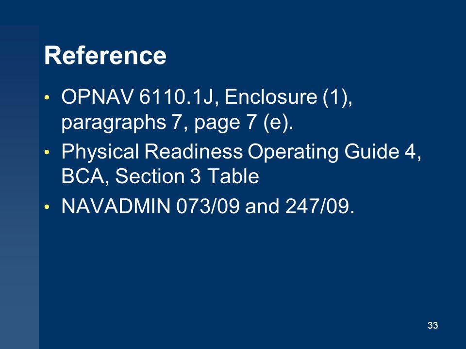 33 Reference OPNAV 6110.1J, Enclosure (1), paragraphs 7, page 7 (e).