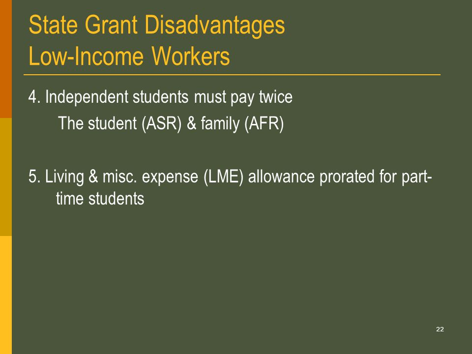 22 State Grant Disadvantages Low-Income Workers 4.