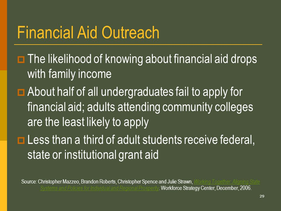 29 Financial Aid Outreach  The likelihood of knowing about financial aid drops with family income  About half of all undergraduates fail to apply for financial aid; adults attending community colleges are the least likely to apply  Less than a third of adult students receive federal, state or institutional grant aid Source: Christopher Mazzeo, Brandon Roberts, Christopher Spence and Julie Strawn, Working Together: Aligning State Systems and Policies for Individual and Regional Prosperity.