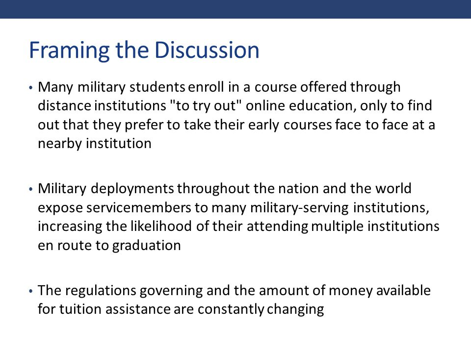Highlights of the White Paper Definition of military and veteran student Military and Veteran cohort models Inclusion and reporting requirements Variables for tracking Recommendations for next steps