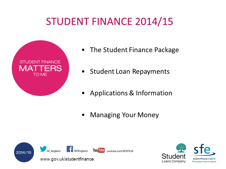 STUDENT FINANCE 2014/15 The Student Finance Package Student Loan Repayments Applications & Information Managing Your Money