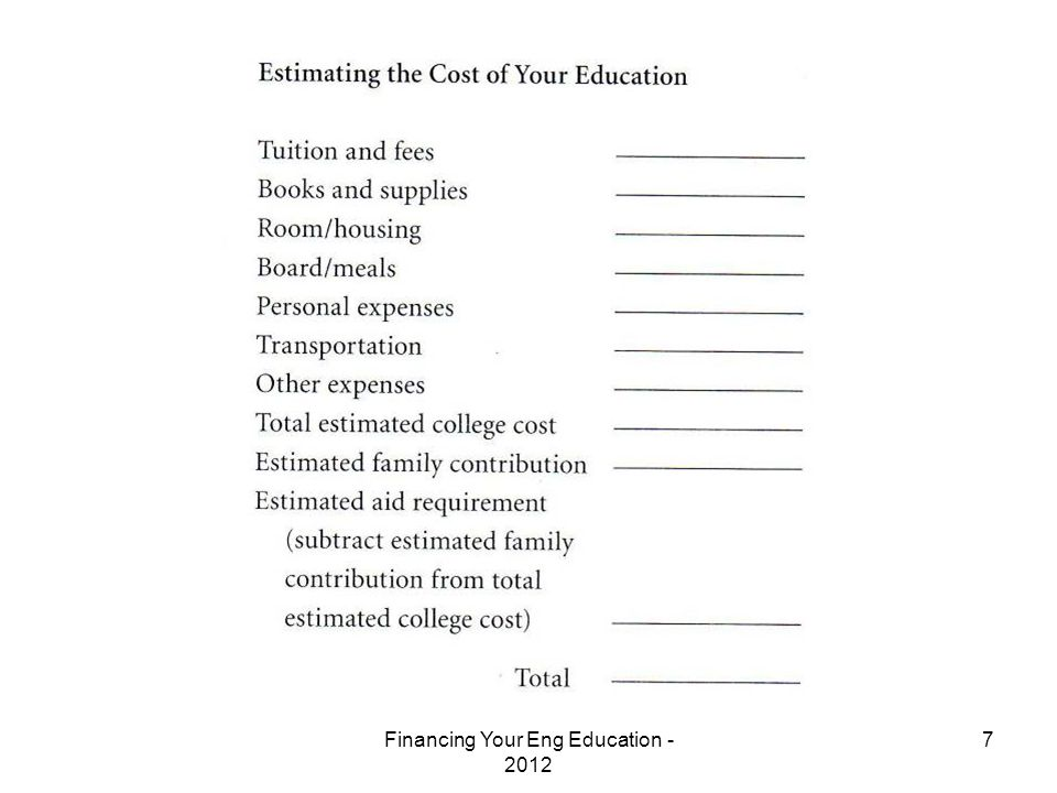 Financing Your Eng Education - 2012 7