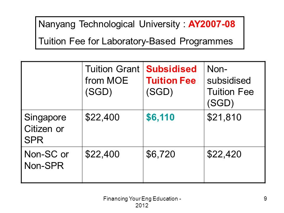 Financing Your Eng Education - 2012 9 Nanyang Technological University : AY2007-08 Tuition Fee for Laboratory-Based Programmes Tuition Grant from MOE