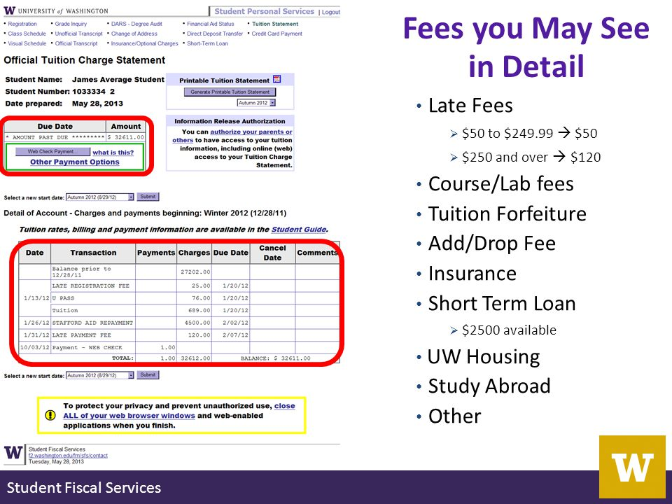 Student Fiscal Services Late Fees  $50 to $249.99  $50  $250 and over  $120 Course/Lab fees Tuition Forfeiture Add/Drop Fee Insurance Short Term Loan  $2500 available UW Housing Study Abroad Other Fees you May See in Detail
