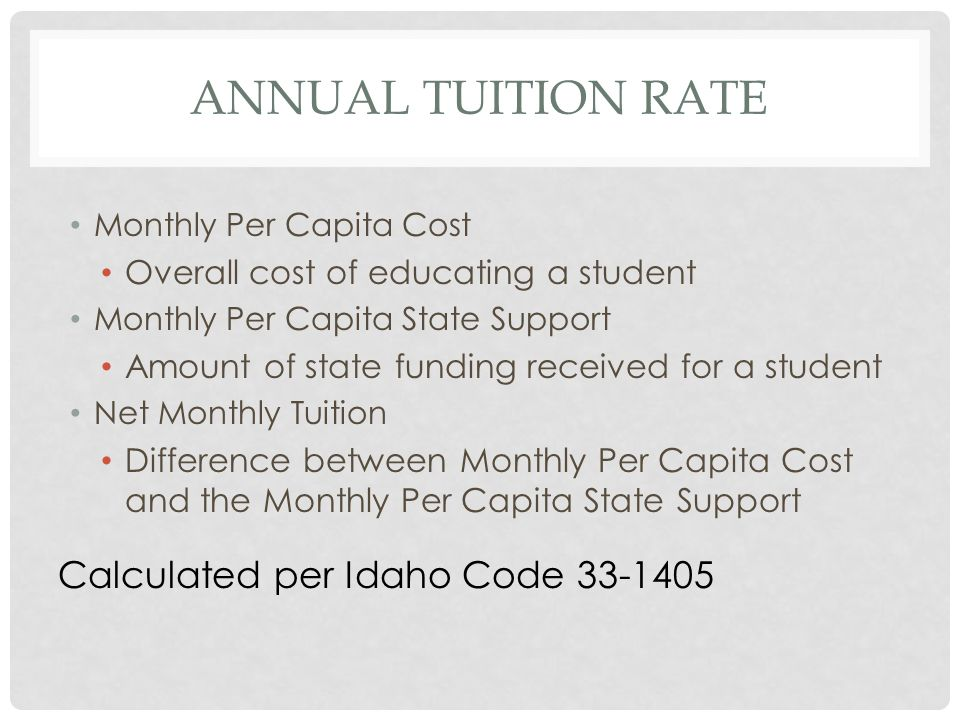 WHAT TUITION RATE TO USE WHEN Is the student from without the state of Idaho.