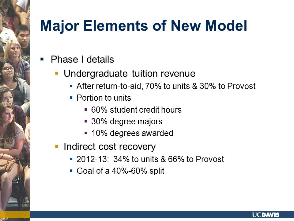 Major Elements of New Model  Phase I details  Undergraduate tuition revenue  After return-to-aid, 70% to units & 30% to Provost  Portion to units  60% student credit hours  30% degree majors  10% degrees awarded  Indirect cost recovery  2012-13: 34% to units & 66% to Provost  Goal of a 40%-60% split