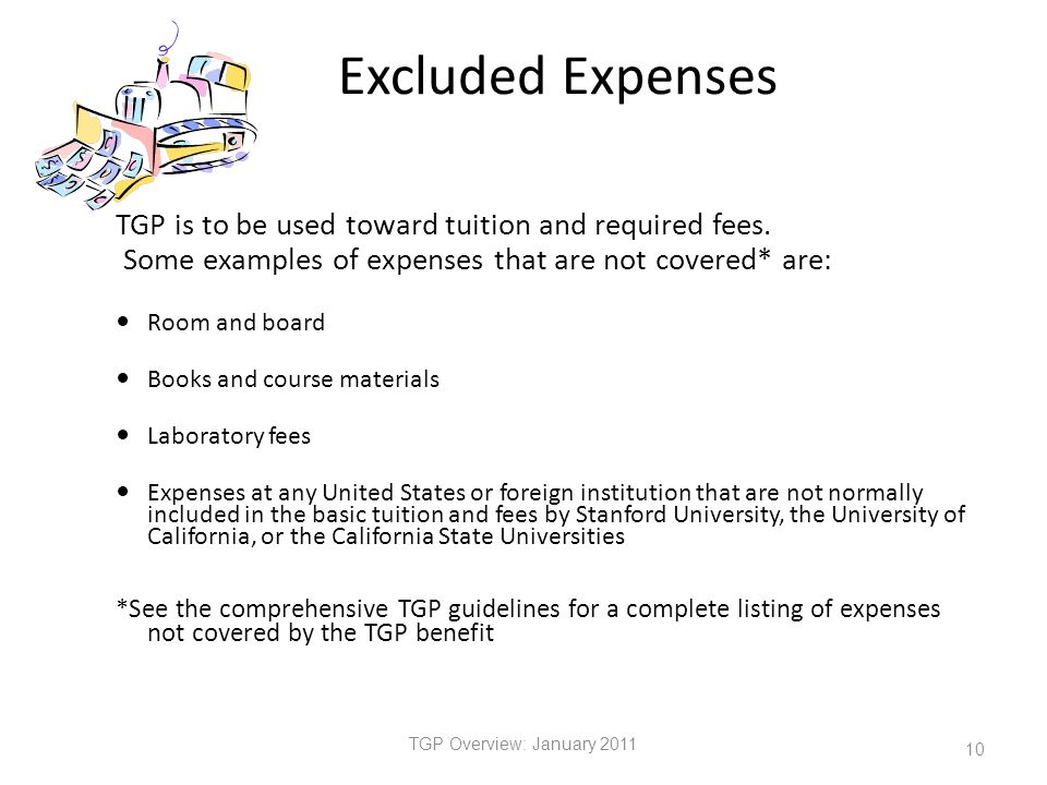 Excluded Expenses TGP is to be used toward tuition and required fees.