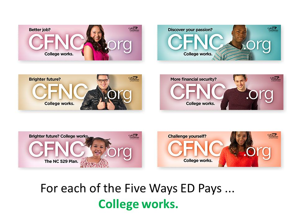 For each of the Five Ways ED Pays... College works.