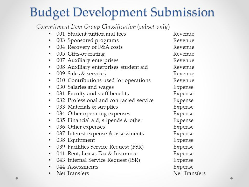Budget Development Submission Commitment Item Group Classification (subset only) 001 Student tuition and feesRevenue 003 Sponsored programsRevenue 004 Recovery of F&A costsRevenue 005 Gifts-operatingRevenue 007 Auxiliary enterprisesRevenue 008 Auxiliary enterprises student aidRevenue 009 Sales & servicesRevenue 010 Contributions used for operationsRevenue 030 Salaries and wagesExpense 031 Faculty and staff benefitsExpense 032 Professional and contracted serviceExpense 033 Materials & suppliesExpense 034 Other operating expensesExpense 035 Financial aid, stipends & otherExpense 036 Other expensesExpense 037 Interest expense & assessmentsExpense 038 EquipmentExpense 039 Facilities Service Request (FSR)Expense 041 Rent, Lease, Tax & InsuranceExpense 043 Internal Service Request (ISR)Expense 044 AssessmentsExpense Net TransfersNet Transfers