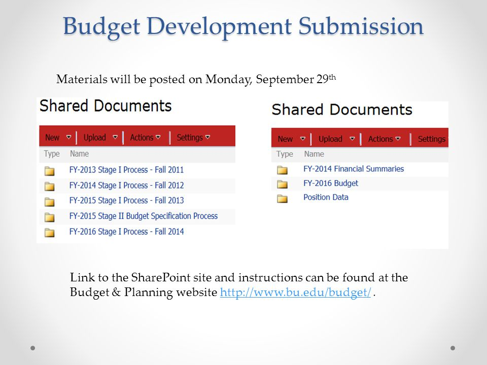Budget Development Submission Materials will be posted on Monday, September 29 th Link to the SharePoint site and instructions can be found at the Budget & Planning website http://www.bu.edu/budget/.http://www.bu.edu/budget/
