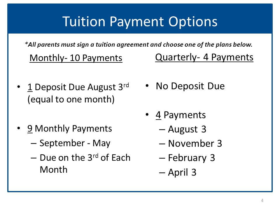 Tuition Payment Options Monthly- 10 Payments 1 Deposit Due August 3 rd (equal to one month) 9 Monthly Payments – September - May – Due on the 3 rd of Each Month Quarterly- 4 Payments No Deposit Due 4 Payments – August 3 – November 3 – February 3 – April 3 4 *All parents must sign a tuition agreement and choose one of the plans below.