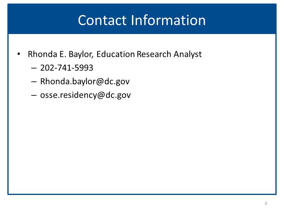 Contact Information Rhonda E.