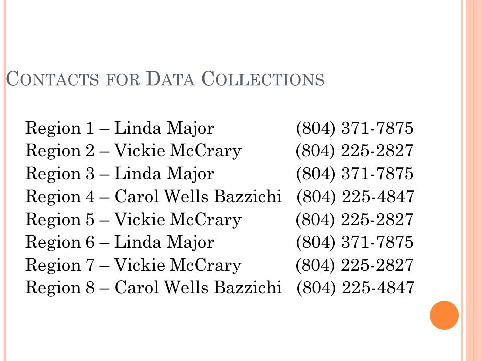 C ONTACTS FOR D ATA C OLLECTIONS Region 1 – Linda Major (804) 371-7875 Region 2 – Vickie McCrary (804) 225-2827 Region 3 – Linda Major (804) 371-7875 Region 4 – Carol Wells Bazzichi (804) 225-4847 Region 5 – Vickie McCrary (804) 225-2827 Region 6 – Linda Major (804) 371-7875 Region 7 – Vickie McCrary (804) 225-2827 Region 8 – Carol Wells Bazzichi (804) 225-4847