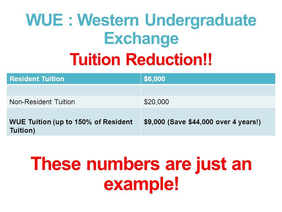 WUE : Western Undergraduate Exchange Tuition Reduction!.