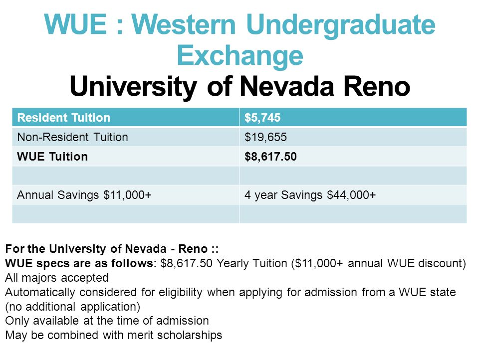 WUE : Western Undergraduate Exchange University of Nevada Reno Resident Tuition$5,745 Non-Resident Tuition$19,655 WUE Tuition$8,617.50 Annual Savings $11,000+4 year Savings $44,000+ For the University of Nevada - Reno :: WUE specs are as follows: $8,617.50 Yearly Tuition ($11,000+ annual WUE discount) All majors accepted Automatically considered for eligibility when applying for admission from a WUE state (no additional application) Only available at the time of admission May be combined with merit scholarships