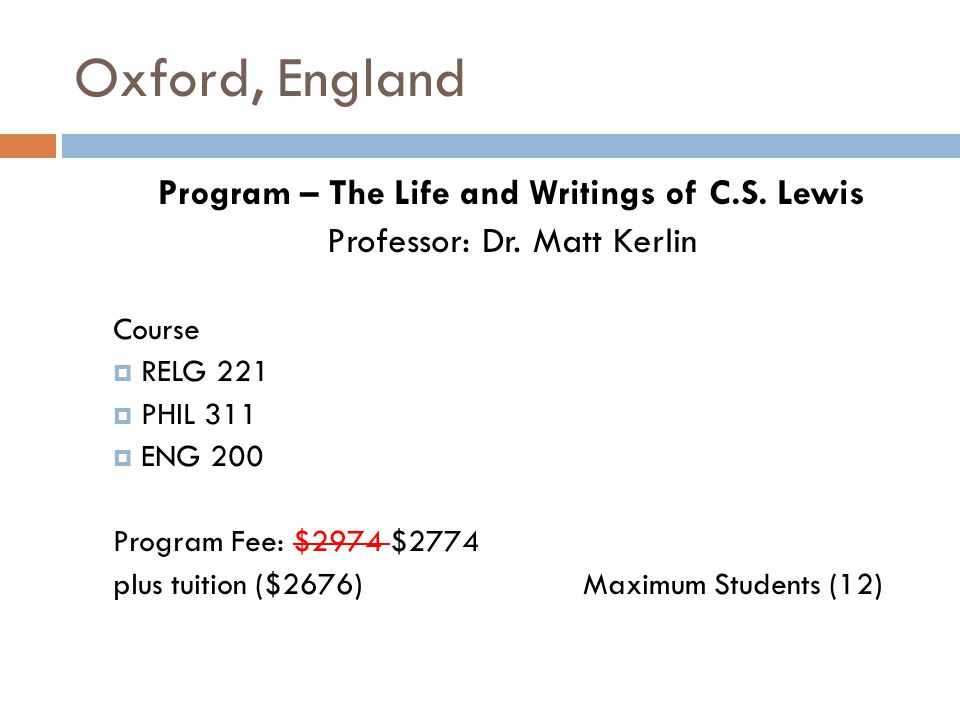 Oxford, England Program – The Life and Writings of C.S.