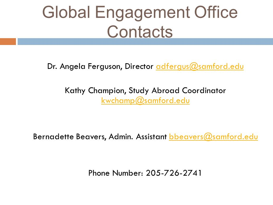Global Engagement Office Contacts Dr.