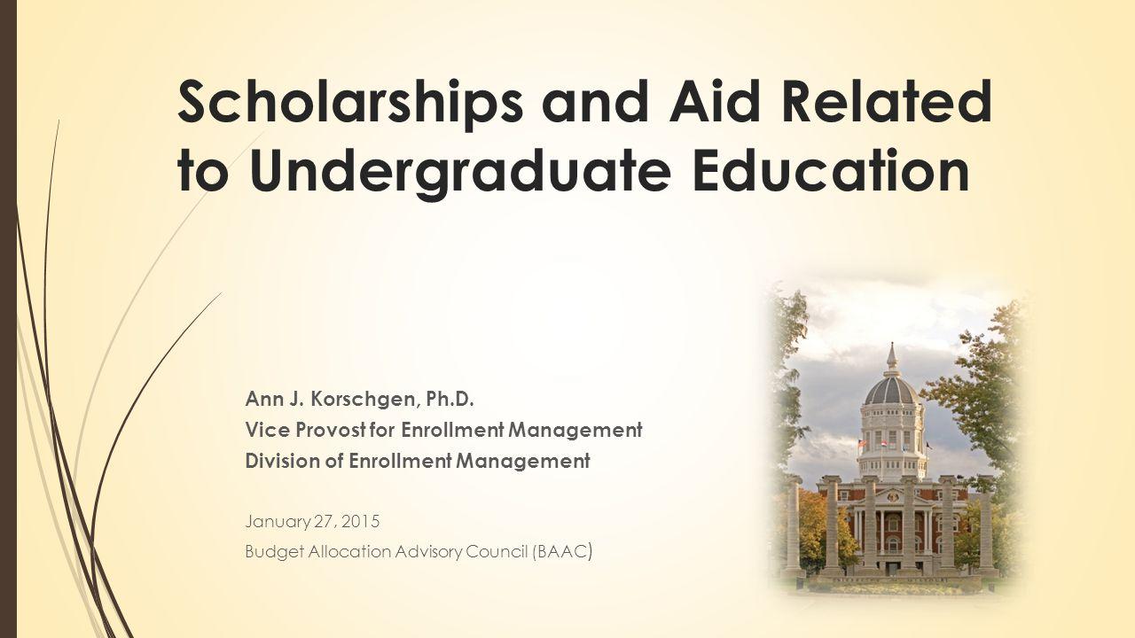 Scholarships and Aid Related to Undergraduate Education Ann J. Korschgen, Ph.D. Vice Provost for Enrollment Management Division of Enrollment Manageme