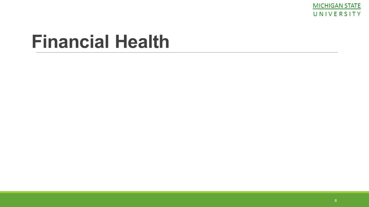 Financial Health MICHIGAN STATE U N I V E R S I T Y 8