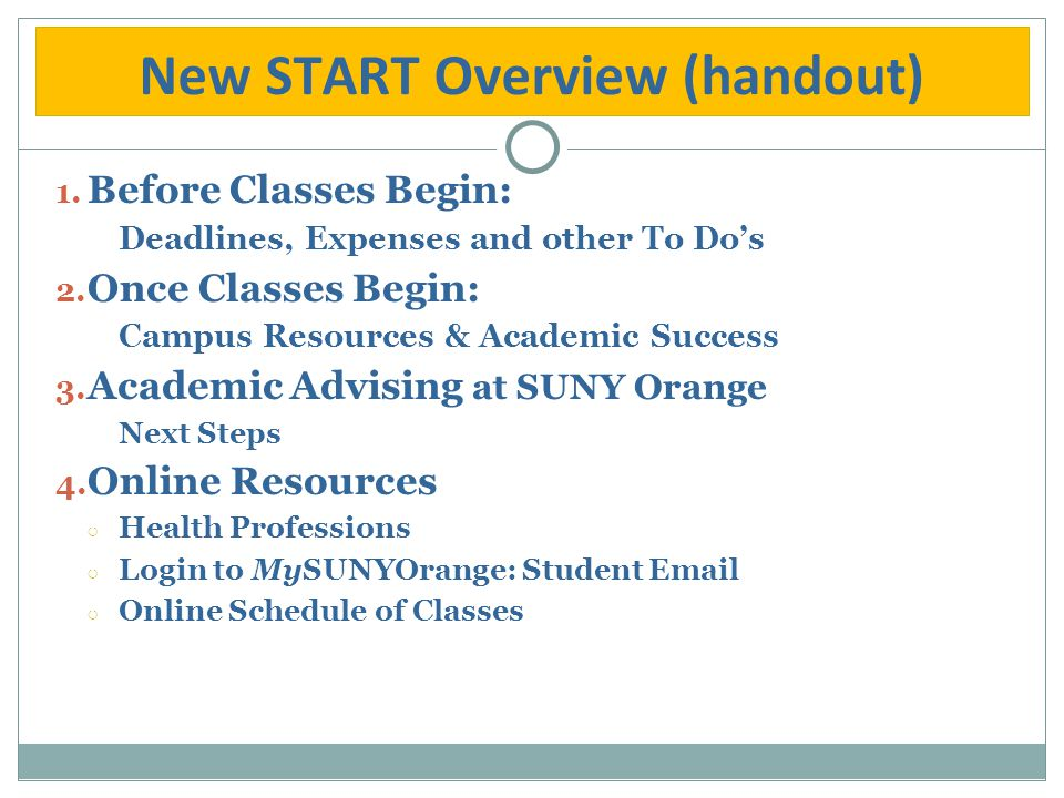 New START Overview (handout) 1. Before Classes Begin: Deadlines, Expenses and other To Do's 2. Once Classes Begin: Campus Resources & Academic Success