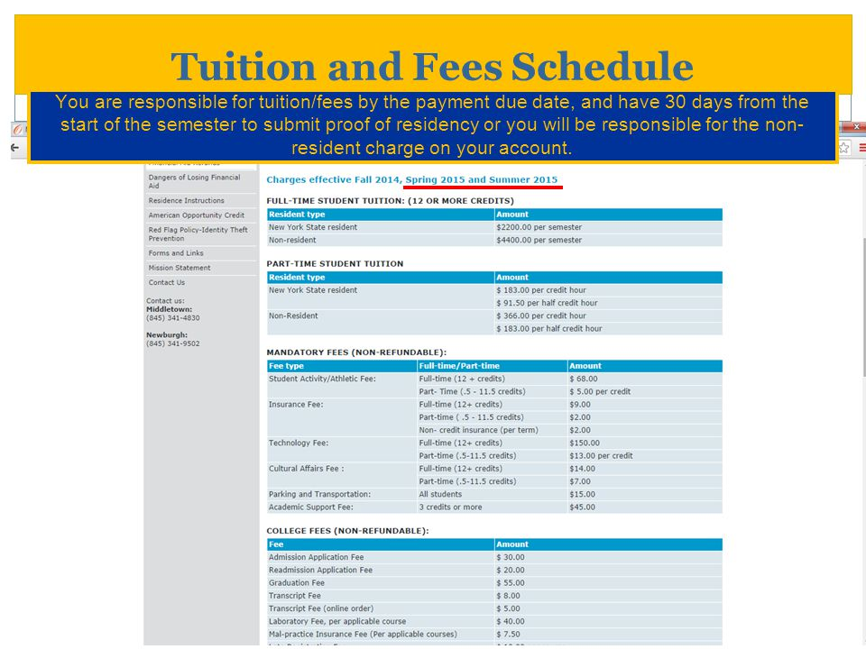 Tuition and Fees Schedule You are responsible for tuition/fees by the payment due date, and have 30 days from the start of the semester to submit proo