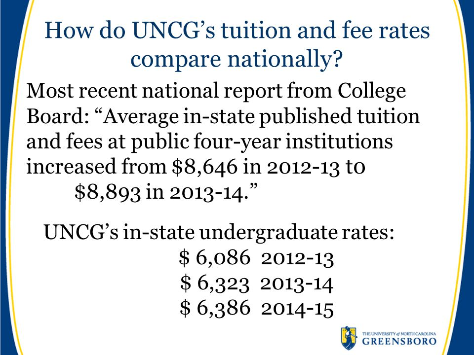 How do UNCG's tuition and fee rates compare nationally.