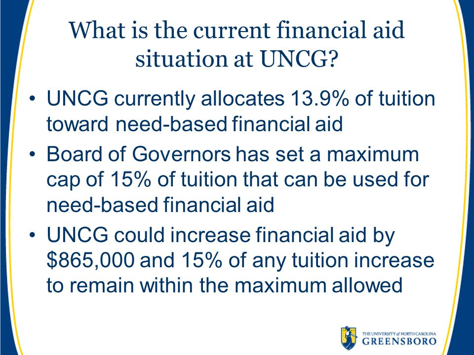 What is the current financial aid situation at UNCG.