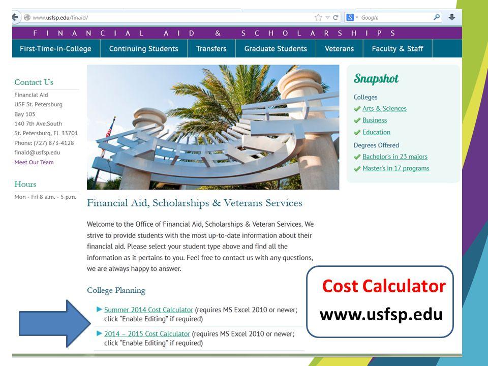 www.usfsp.edu Cost Calculator