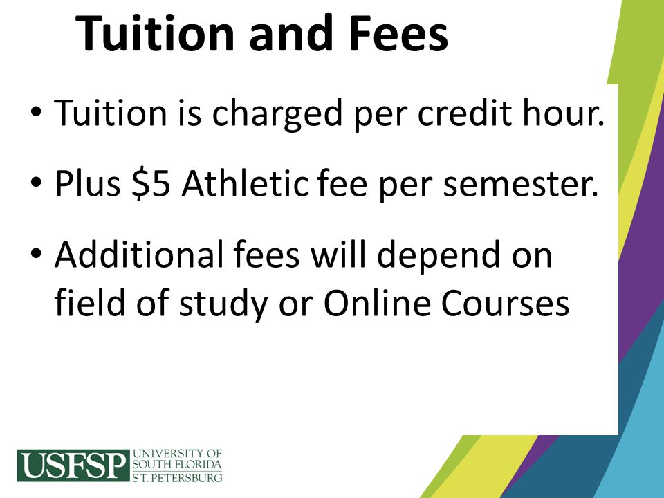 Tuition and Fees Tuition is charged per credit hour. Plus $5 Athletic fee per semester. Additional fees will depend on field of study or Online Course