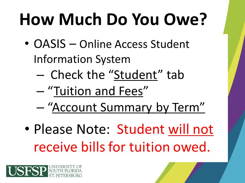 """How Much Do You Owe? OASIS – Online Access Student Information System – Check the """"Student"""" tab – """"Tuition and Fees"""" – """"Account Summary by Term"""""""" Plea"""