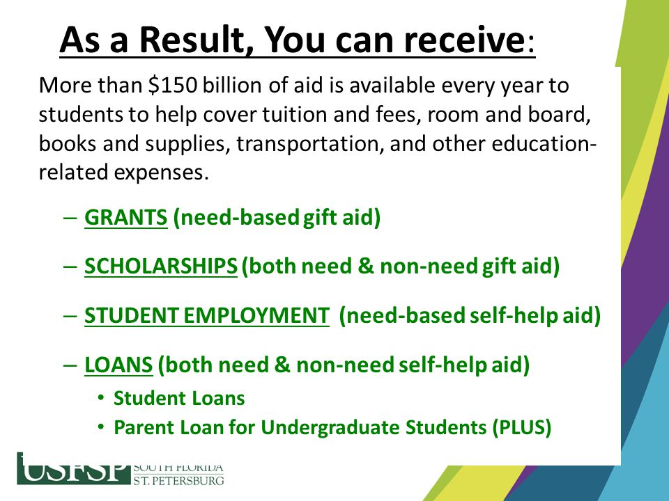 More than $150 billion of aid is available every year to students to help cover tuition and fees, room and board, books and supplies, transportation,