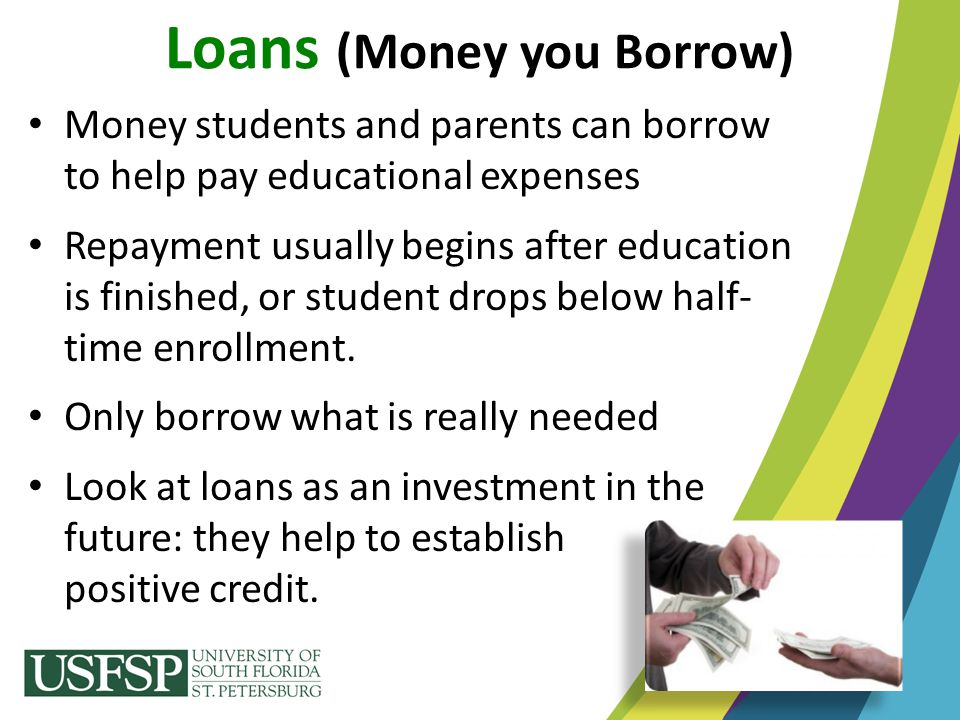 Money students and parents can borrow to help pay educational expenses Repayment usually begins after education is finished, or student drops below ha