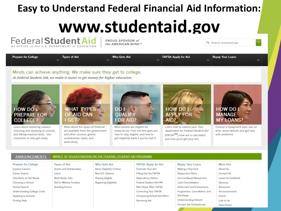 Easy to Understand Federal Financial Aid Information: www.studentaid.gov