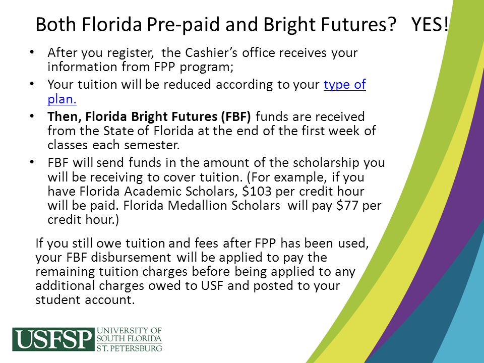 After you register, the Cashier's office receives your information from FPP program; Your tuition will be reduced according to your type of plan.type