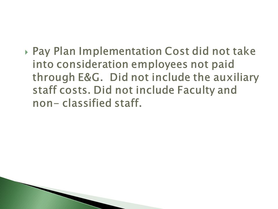 Classified Pay Plan Implementation InstitutionFully ImplementedPartially ImplementedRemaining portion budgeted for: ASUJ PartiallyFY11 ATU Fully HSU PartiallyFY11 SAUM PartiallyFY11 UAF PartiallyFY11 UAFS PartiallyFY11 UALR PartiallyFY11 UAM PartiallyFY11 UAPB PartiallyFY11 UCA PartiallyFY11 UAMS PartiallyFY11