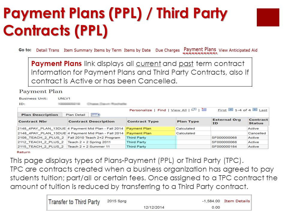 Payment Plans (PPL) / Third Party Contracts (PPL) This page displays types of Plans-Payment (PPL) or Third Party (TPC). TPC are contracts created when