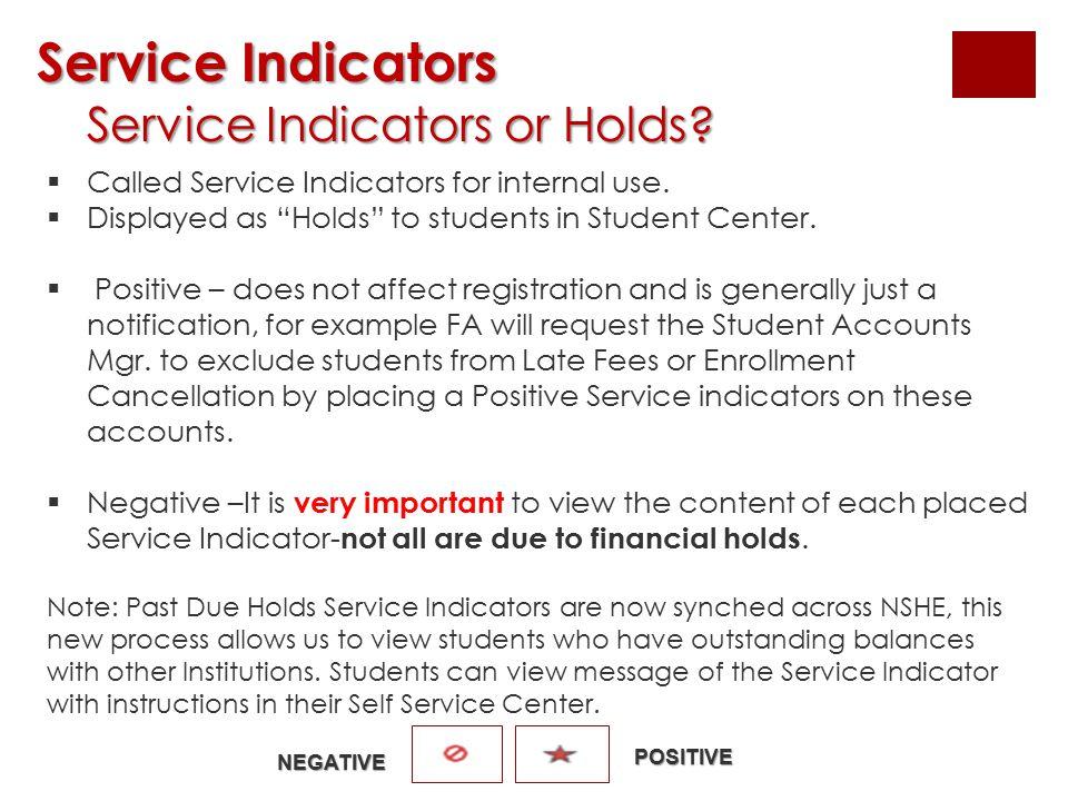 Service Indicators Service Indicators Service Indicators or Holds? Service Indicators or Holds?  Called Service Indicators for internal use.  Displa