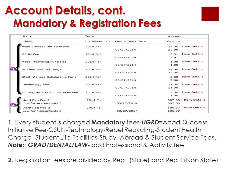 Account Details, cont. Mandatory & Registration Fees Mandatory & Registration Fees 1. Every student is charged Mandatory fees- UGRD =Acad. Success Ini