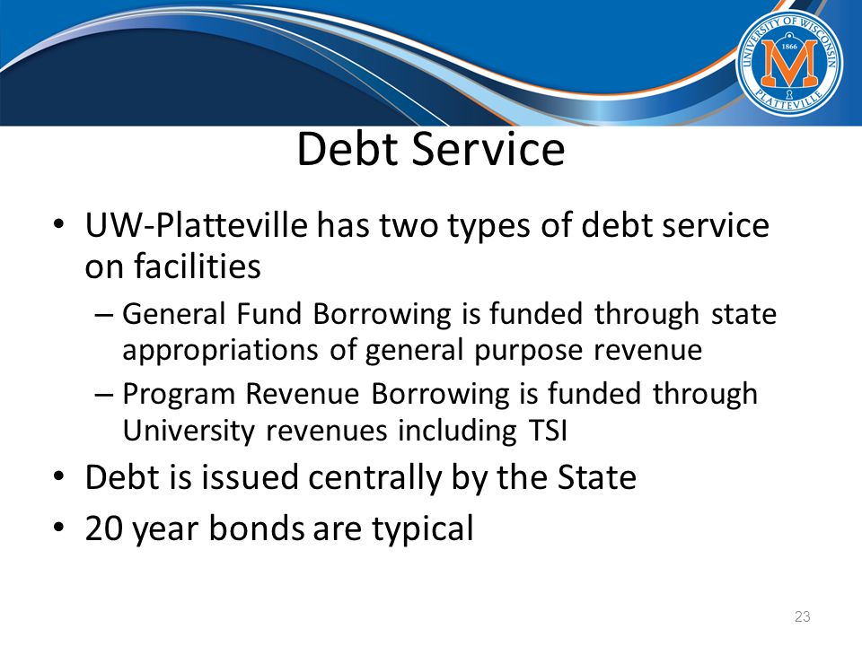Debt Service UW-Platteville has two types of debt service on facilities – General Fund Borrowing is funded through state appropriations of general purpose revenue – Program Revenue Borrowing is funded through University revenues including TSI Debt is issued centrally by the State 20 year bonds are typical 23